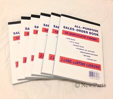 """Lot of 6 Sales Order Book Receipt Book 50 Duplicate Forms 5.5""""x8"""" Wholesale lot"""