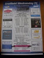 20/03/2010 Colour Teamsheet: Sheffield Wednesday v Derby County