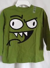 BOYS S 5 6 WICKED GREEN BIG TEETH MEAN EYES SHIRT NWT ~ THE CHILDREN'S PLACE