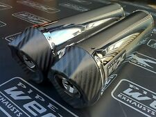 Yamaha YZF R1 04-06 Pair, Stainless Oval, Carbon Outlet Exhausts, Silencers.