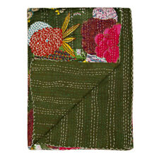 Indian Handmade Kantha Quilt Throw Blanket Bedspread Gudari (Green Fruit Twin)