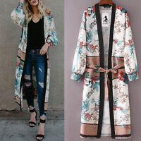 Womens Belt Bandage Shawl Print Kimono Cardigan Top Cover Up Blouse Long Coat US