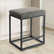 Leather Bar Stools Backless Metal Dining Chairs For Kitchen Furniture Gray 24'