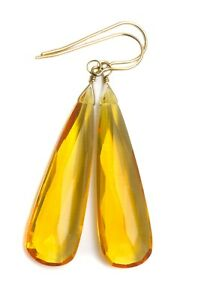 "Citrine Earrings Yellow Large Long Sim Teardrops Simple 2 "" 14k Gold Sterling"