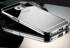 SILVER Metal Mirror Case iPhone 4 5 6 7 Samsung Galaxy S7 S8 Note Slim + GLASS