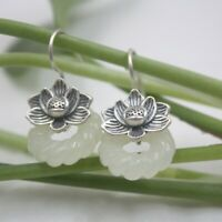 Real S925 Silver Dangle Earrings Women's Hetian Jade Flower Earrings Hook