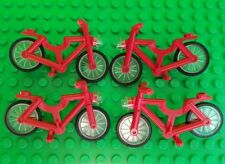 LEGO Minifigure Bicycle red bike Accessories LOT x4 City town with headlight