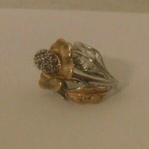 Ross Simons Sterling Silver 18k Rose Gold Amethyst 3D Orchid Flower Ring sz 6.25
