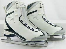 Riedell Women'S White & Blue 625 Soar Pro Model Soft Ice Skate Size 9 Us