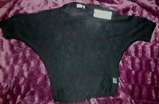 ISABELLA D. LADIES KNITTED OPEN WEAVE JUMPER TOP BLOUSE BLACK  UK S/M - NWT