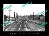 OLD 8x6 HISTORIC PHOTO OF SHEFFIELD MISSOURI, THE RAILROAD DEPOT STATION c1940