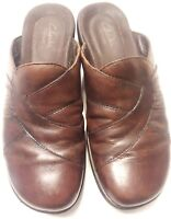 Clarks Artisan Slip On Clogs Mule 7.5 Brown Leather Womens