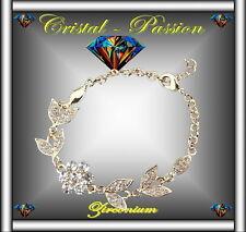 Bracelet femme  zirconium coeur de Fleur Feuille doré or fin  D2