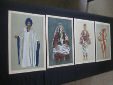 ART by JEAN BESANCENOT 4 GOUACHES #49,#56,#10 #16 Morocco Costume Maroc