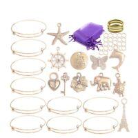 10PCS/Set Gold Tone Expandable Wire Bangle Charms Gift Bags DIY KITS