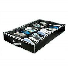 Under The Bed Shoe Organizer Flat Storage Box Container 16-Cell Rack With Cover