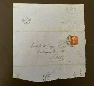 Postal History GB QV 1872 Settle CDS Parish Return 1d Red Plate 144 Cat £25