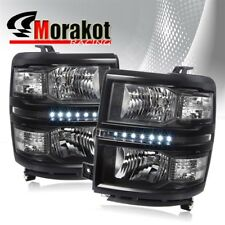 For 14-16 Chevy Silverado 1500 LED Black Housing Headlights Clear Reflector Lamp