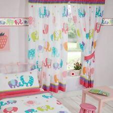 "PATCHWORK ELEPHANTS 66"" x 72"" LINED CURTAINS WITH TIE-BACKS MULTI PINK GIRLS"
