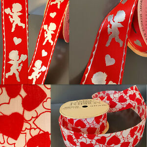 "Vtg❤️Valentines Day💘 CUPID Red Hearts Grosgrain RiBBoN 1 3/8"" X2 LOT=7 yards"