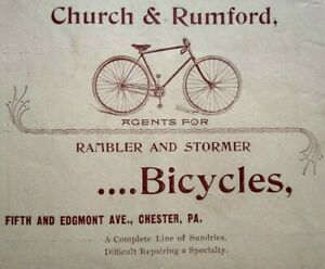 1895 Church & Rumford Bicycle Store Rambler Stormer  Chester PA Vintage Print Ad