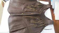 Genuine OEM Indian Womens Indian Motorcycle Brown Fringe Leather Vest, XXL,FS