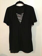 Korean Large Boxy Shirt Dress Black & White V Chest (One Size Fits All S-XL)