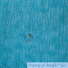 BonEful FABRIC FQ Cotton Quilt Aqua Gold Metallic Dot Stripe Pattern Print Tonal
