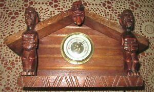 Vintage Hand-carved New Zealand Wharenui Meeting House Design Barometer Souvenir