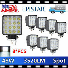 8X 48W LED Work SPOT Light OffRoad 12V24V Truck 4WD Boat JEEP 3520LM Driving NEW