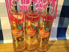 Bath & Body Works PUMPKIN CUPCAKE Fragrance Mist Set of 3 Bottles 8oz