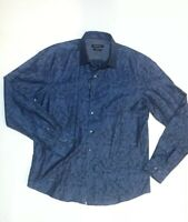 Bugatchi Uomo Large Shirt Navy Blue gray Stripe Button Down Front Mens L Shaped