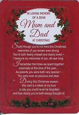 IN LOVING MEMORY GRAVESIDE MEMORIAL MUM AND DAD CHRISTMAS PLASTIC COATED CARD