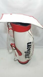 Vintage Wilson White/ Red Golf Bag Made In The USA Classic 15 Way Divider