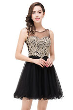 US Stock Black Homecoming Dresses Short Gold Applique Sheer Neck Prom Party Gown