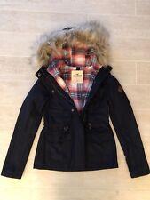 New Hollister by Abercrombie Women Fur Trim Hooded Wool Jacket Coat - Navy Small