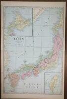"JAPAN 1902 Vintage Atlas Map 14""x22"" Old Antique Original TOKYO OSAKA KYOTO KOBE"