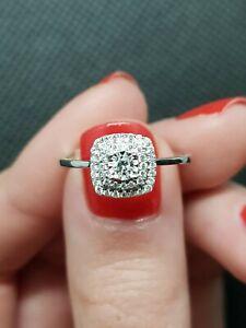 18K White Gold Round Brilliant Double Square Halo Diamond Ring