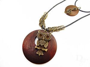 Eule Liebe Musik Ringe bronze Vintage Holz Damen Blogger XXL Doppel Halskette