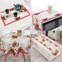 Christmas Vintage Embroidered Lace Tablecloth Xmas Table Cloth Runner Home Decor
