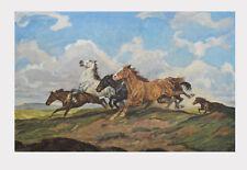 Alfred Roloff Kunstdruck Poster Bild Lichtdruck Gallopierende Pferde 63x95 cm