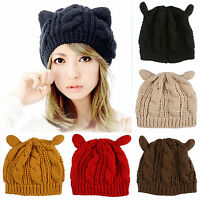 Womens Knitted Warm Cat Ears Winter Beanie Ski Cap Hat 4 Colours