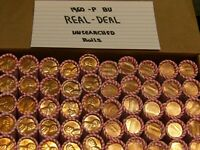 1960 P BU ROLL LINCOLN MEMORIAL CENT LRG DATE ORIGIONAL SEALED UNSEARCHED  ROLLS