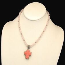 Vintage Filigree Hearts Cross Pendant Necklace Rose Quartz Beads Reversible