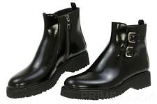 NEW PRADA BLACK LEATHER  ZIPPED BUCKLE DETAIL ANKLE BOOTS SHOES 39/US 9