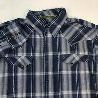 Tin Haul Pearl Snap Shirt Men's XL Long Sleeve Blue Plaid Casual Western