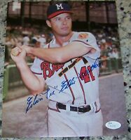 Edwin Lee Eddie Mathews Signed Autographed 8x10 Baseball Photo JSA COA!