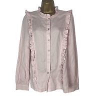 M&S Tencel Frill Ruffle Detail Blouse Shirt Size 8 Pink Button Up Long Sleeve