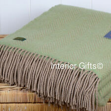 PURE NEW WOOL British THROW Sofa Blanket Rug SUBTLE GREEN & BEIGE Herringbone