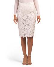 $1275 NEW ESCADA Ravossa Floral Lace Gold Foil Pencil Skirt off White 36 RARE